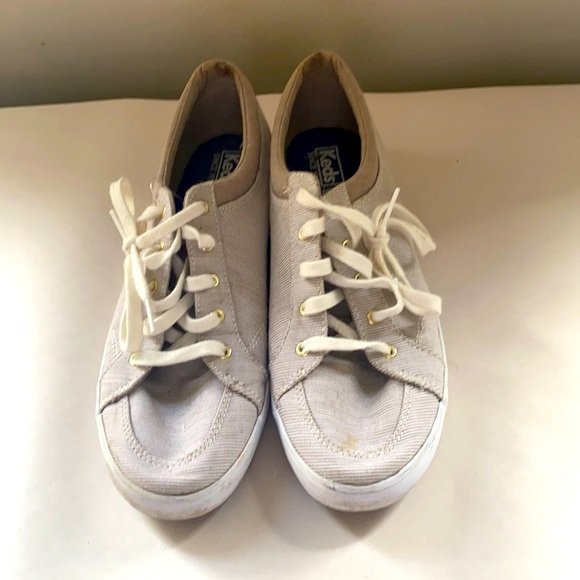 Keds Brown and White Striped Sneakers - 9.5